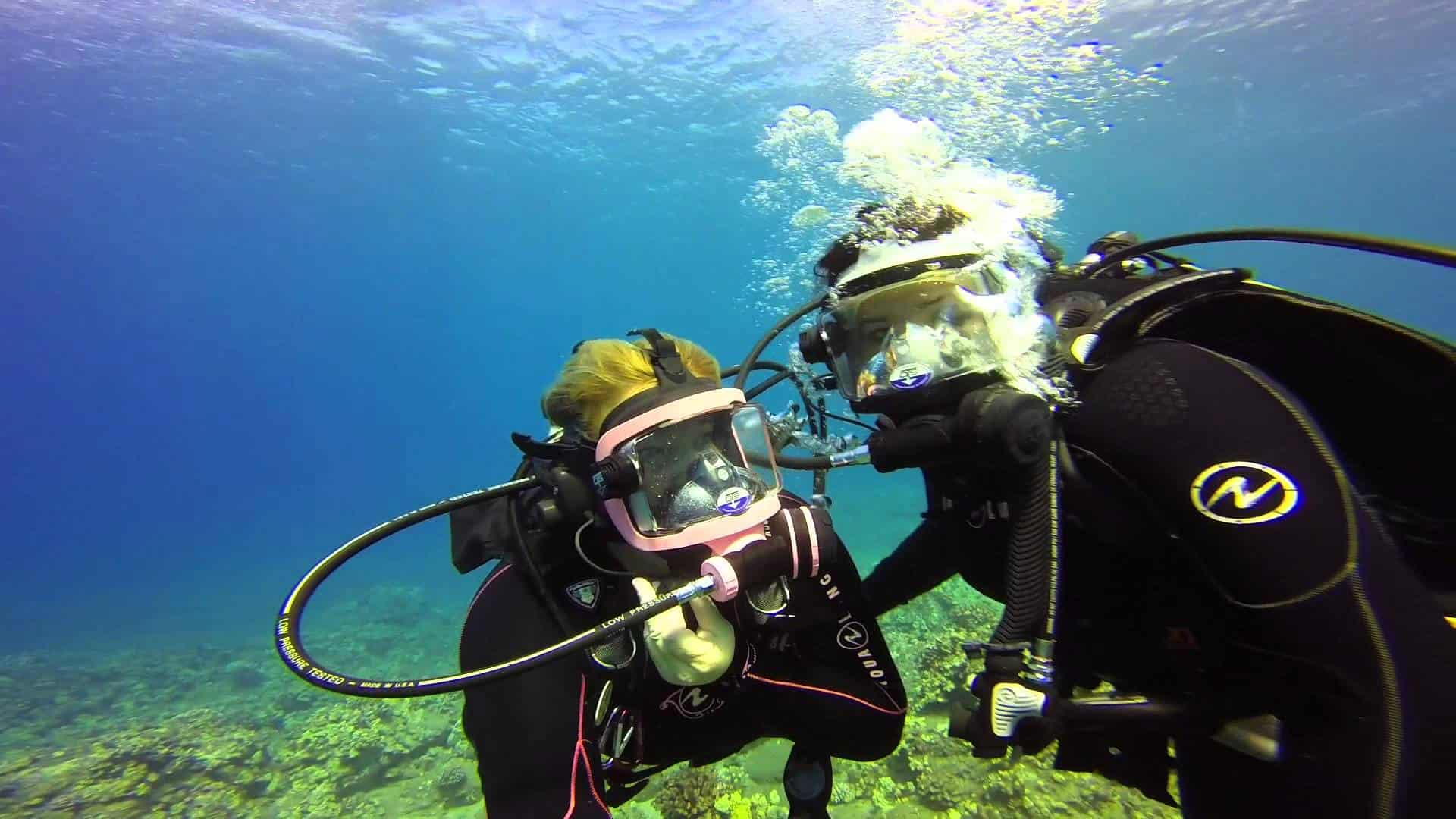 Diving with full face mask
